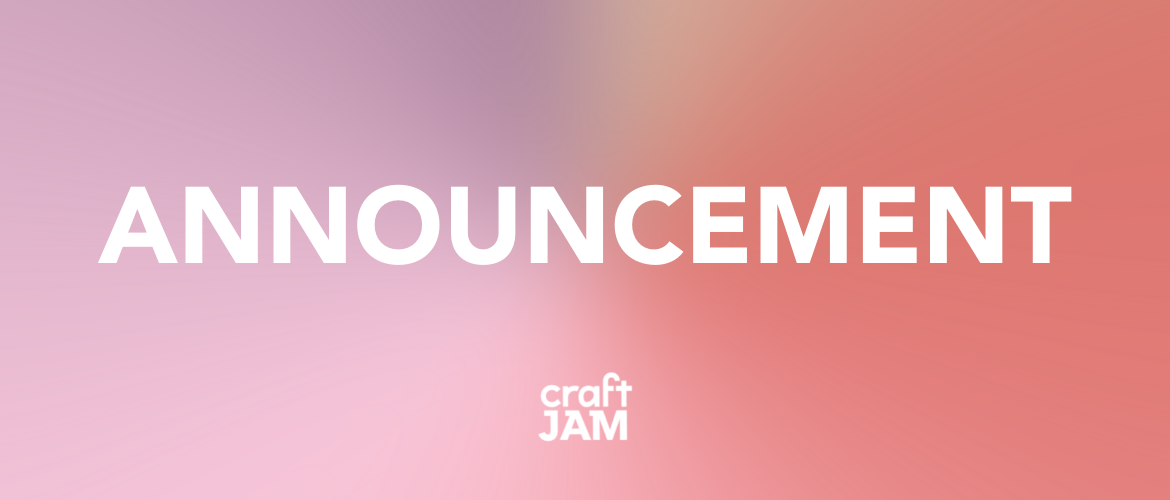 """the word """"Announcement"""" on a gradient pink and red background"""