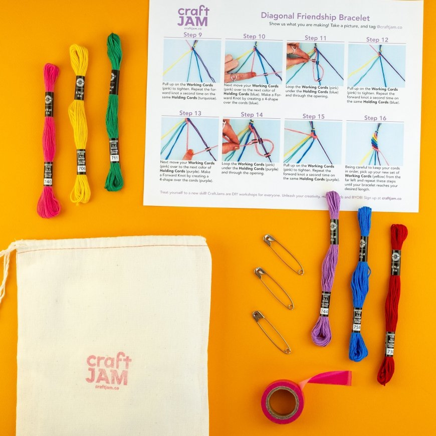 Supplies included in friendship bracelet craft kit