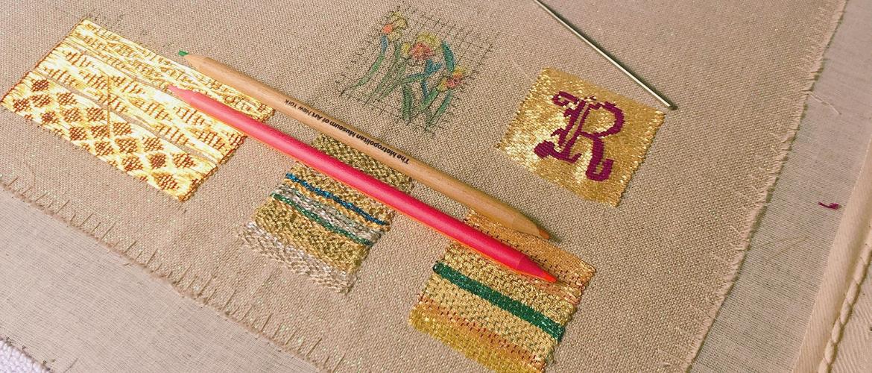 close up image of goldwork embroidery sampler