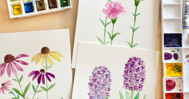 watercolor supplies and paintings of watercolor florals