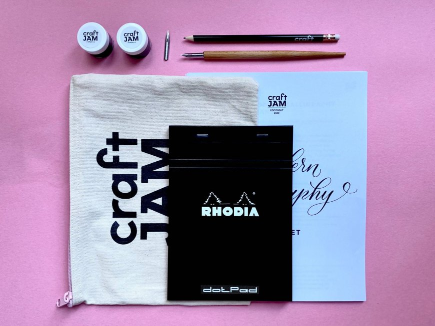 Supplies included in calligraphy craft kit