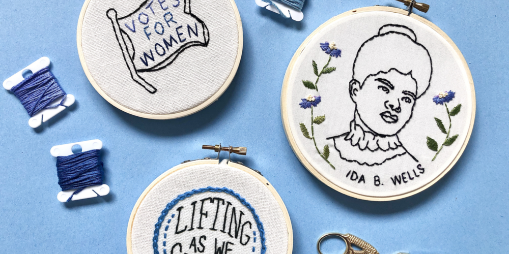 embroidered projects featuring Votes for Women inspired designs